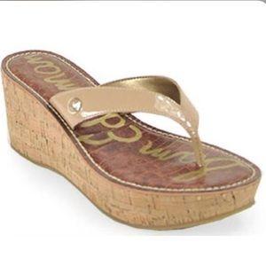 Sam Edelman Nude Patent Romy Wedge Thong Sandals 7